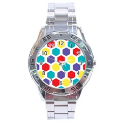 Hexagon Pattern  Stainless Steel Analogue Watch