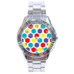 Hexagon Pattern  Stainless Steel Analogue Watch Front