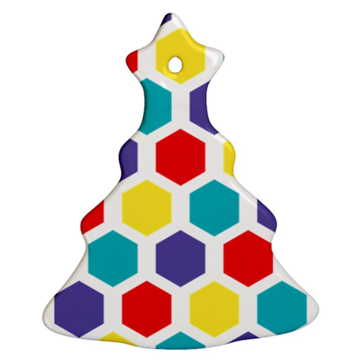 Hexagon Pattern  Christmas Tree Ornament (2 Sides)