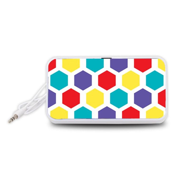 Hexagon Pattern  Portable Speaker (White)