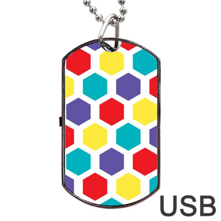 Hexagon Pattern  Dog Tag USB Flash (One Side)