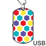 Hexagon Pattern  Dog Tag USB Flash (Two Sides)  Back