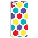Hexagon Pattern  Apple iPhone 4/4s Seamless Case (White) Front