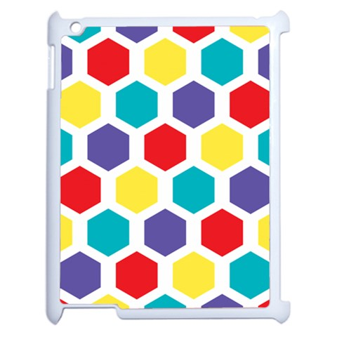 Hexagon Pattern  Apple iPad 2 Case (White)