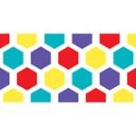 Hexagon Pattern  Twin Heart Bottom 3D Greeting Card (8x4) Front