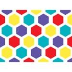 Hexagon Pattern  Circle Bottom 3D Greeting Card (7x5) Back