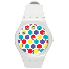 Hexagon Pattern  Round Plastic Sport Watch (M)