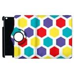 Hexagon Pattern  Apple iPad 3/4 Flip 360 Case Front