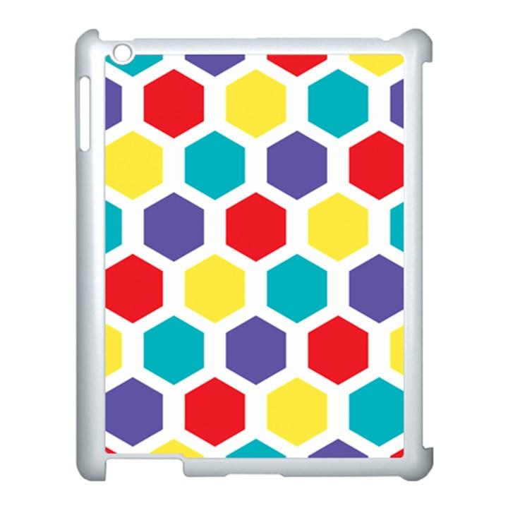 Hexagon Pattern  Apple iPad 3/4 Case (White)