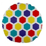 Hexagon Pattern  Large 18  Premium Round Cushions Back