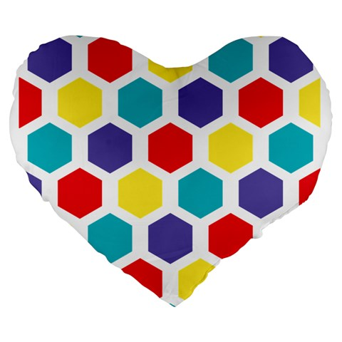 Hexagon Pattern  Large 19  Premium Heart Shape Cushions