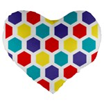 Hexagon Pattern  Large 19  Premium Heart Shape Cushions Front