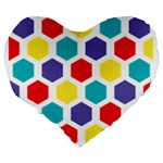 Hexagon Pattern  Large 19  Premium Heart Shape Cushions Back