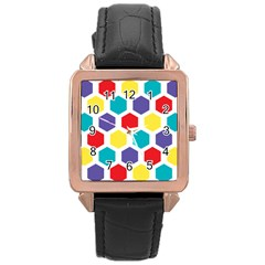 Hexagon Pattern  Rose Gold Leather Watch