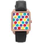 Hexagon Pattern  Rose Gold Leather Watch  Front