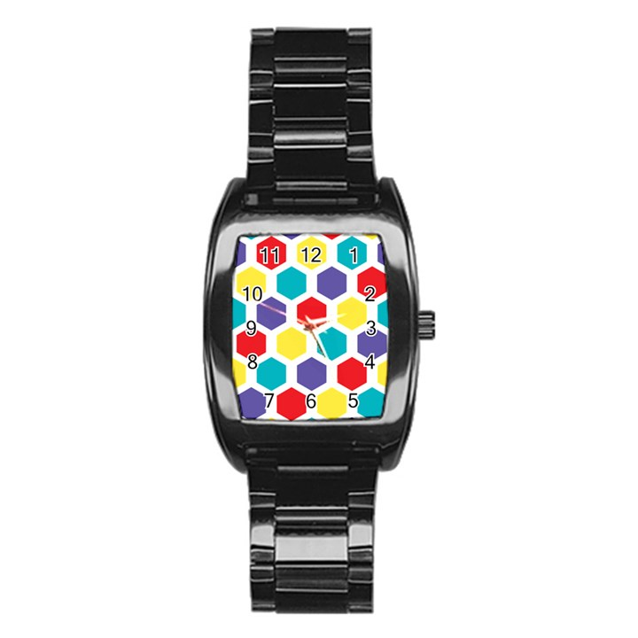 Hexagon Pattern  Stainless Steel Barrel Watch