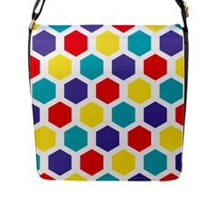 Hexagon Pattern  Flap Messenger Bag (L)