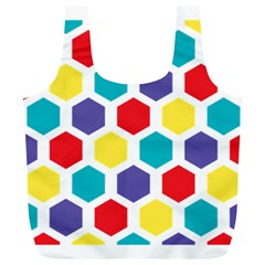 Hexagon Pattern  Full Print Recycle Bags (L)