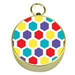 Hexagon Pattern  Gold Compasses Front