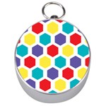 Hexagon Pattern  Silver Compasses Front