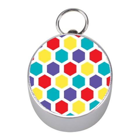 Hexagon Pattern  Mini Silver Compasses