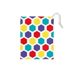 Hexagon Pattern  Drawstring Pouches (Small)  Front