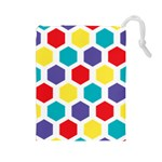 Hexagon Pattern  Drawstring Pouches (Large)  Front