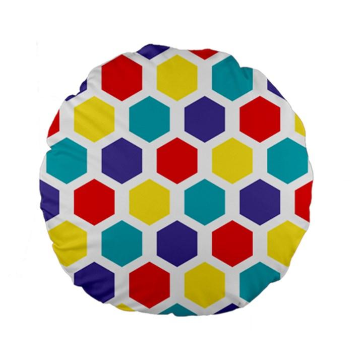 Hexagon Pattern  Standard 15  Premium Flano Round Cushions