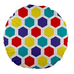 Hexagon Pattern  Large 18  Premium Flano Round Cushions