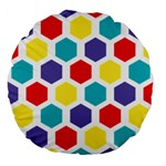 Hexagon Pattern  Large 18  Premium Flano Round Cushions Back