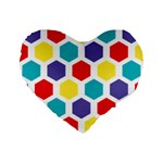 Hexagon Pattern  Standard 16  Premium Flano Heart Shape Cushions Front