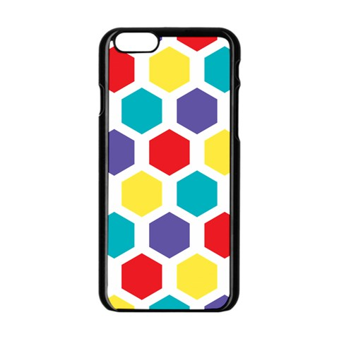 Hexagon Pattern  Apple iPhone 6/6S Black Enamel Case