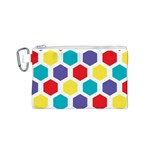 Hexagon Pattern  Canvas Cosmetic Bag (S) Front