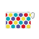 Hexagon Pattern  Canvas Cosmetic Bag (S) Back