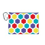 Hexagon Pattern  Canvas Cosmetic Bag (M) Front