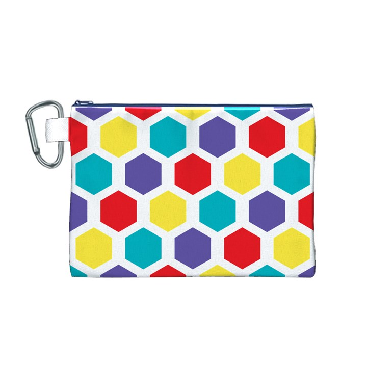 Hexagon Pattern  Canvas Cosmetic Bag (M)