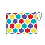 Hexagon Pattern  Canvas Cosmetic Bag (M) Back