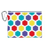 Hexagon Pattern  Canvas Cosmetic Bag (L) Front