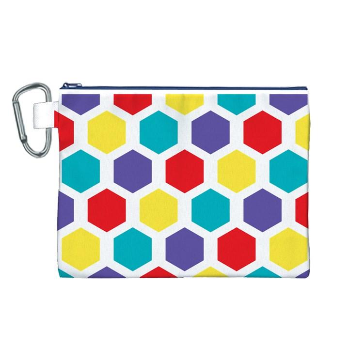 Hexagon Pattern  Canvas Cosmetic Bag (L)