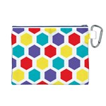Hexagon Pattern  Canvas Cosmetic Bag (L) Back