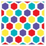 Hexagon Pattern  Large Satin Scarf (Square) Front