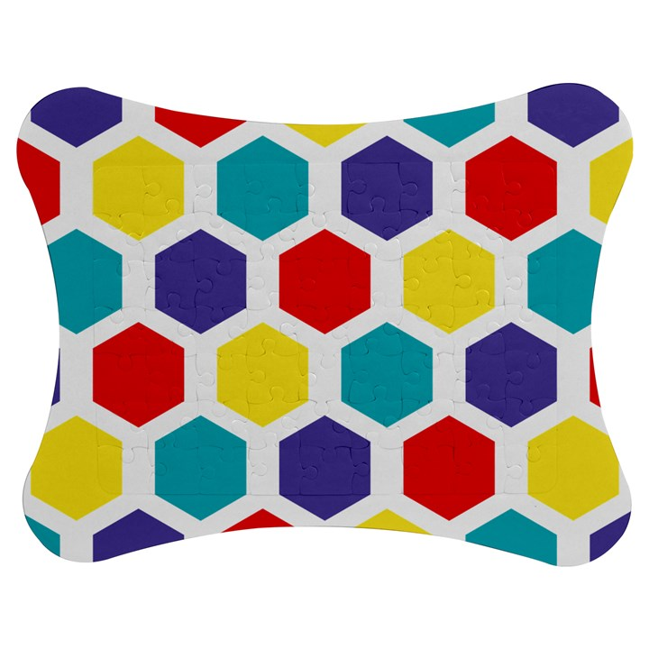 Hexagon Pattern  Jigsaw Puzzle Photo Stand (Bow)