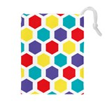 Hexagon Pattern  Drawstring Pouches (Extra Large) Front