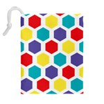 Hexagon Pattern  Drawstring Pouches (Extra Large) Back