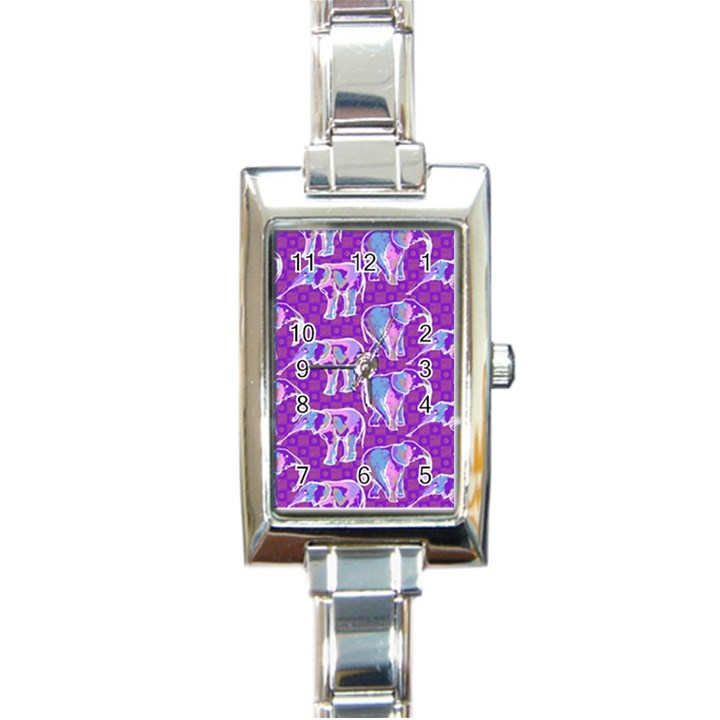 Cute Violet Elephants Pattern Rectangle Italian Charm Watch