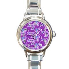 Cute Violet Elephants Pattern Round Italian Charm Watch