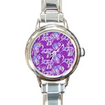 Cute Violet Elephants Pattern Round Italian Charm Watch Front