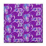 Cute Violet Elephants Pattern Tile Coasters Front
