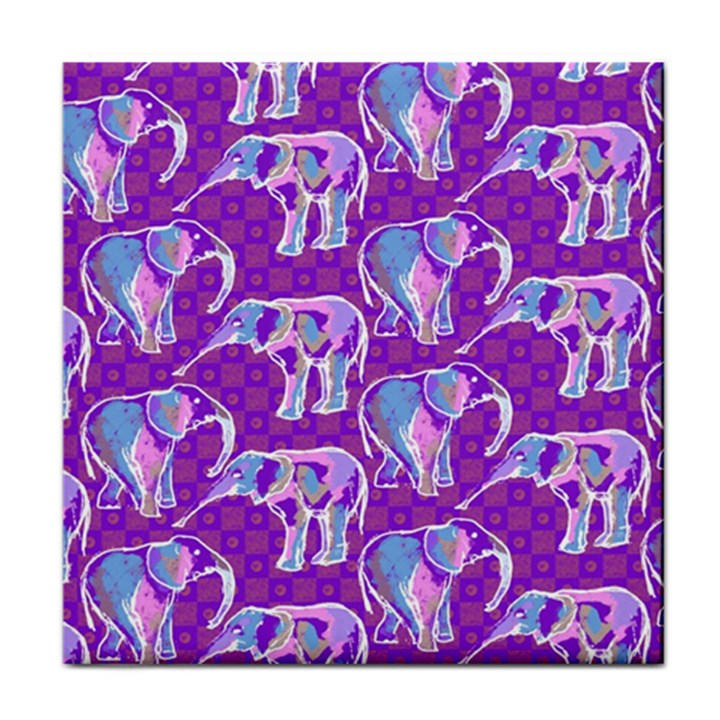 Cute Violet Elephants Pattern Tile Coasters