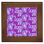 Cute Violet Elephants Pattern Framed Tiles Front